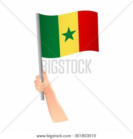 Senegal flag in hand. Patriotic background. National flag of Senegal vector illustration poster