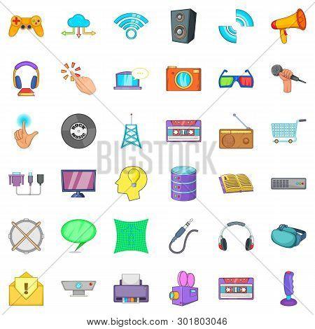 Hardware Widget Icons Set. Cartoon Set Of 36 Hardware Widget Icons For Web Isolated On White Backgro