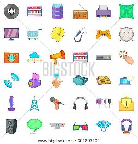 App Widget Icons Set. Cartoon Set Of 36 App Widget Icons For Web Isolated On White Background