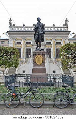 Leipzig, Germany - October 2018:  Memorial Statue Of Johann Wolfgang Von Goethe In Front Of The Old