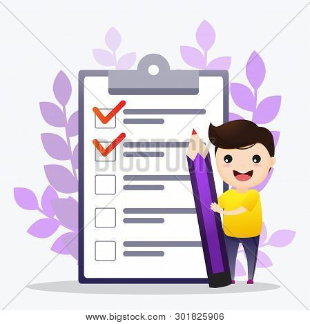 Check List Illustration. Man Worker Standing In Front Of Check List On A Clipboard Paper. Illustrati