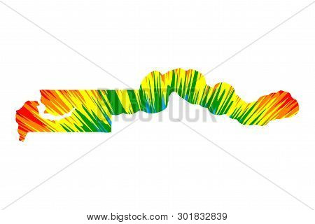 Gambia - Map Is Designed Rainbow Abstract Colorful Pattern, Republic Of The Gambia Map Made Of Color