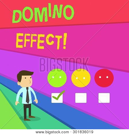 Handwriting Text Writing Domino Effect. Concept Meaning Chain Reaction That Causing Other Similar Ev