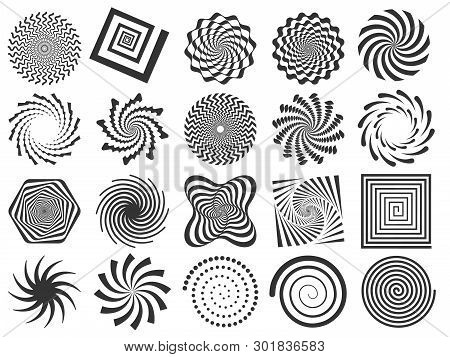 Swirl Silhouette. Spiral Swirling Spin, Swirls Circle And Abstract Swirled Silhouettes Vector Illust