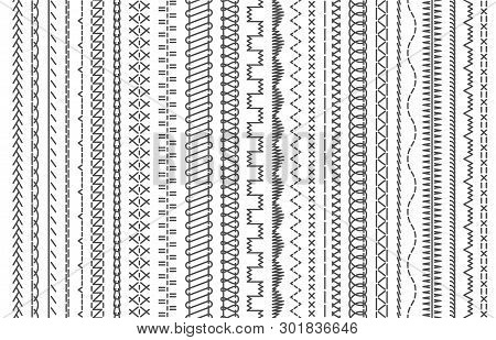 Sewing Machine Stitches. Stitching Seams, Stitched Sew Seamless Pattern Brush And Embroidery Sews St