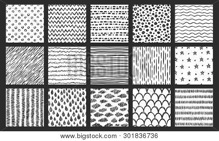 Hand Drawn Seamless Textures. Sketch Pattern, Scribble Doodle Texture And Curved Lines Vector Patter