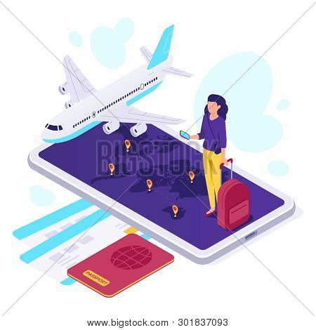 Isometric Airplane Travel. Traveler Suitcase, Airplane Travels And Traveling 3d Vector Illustration
