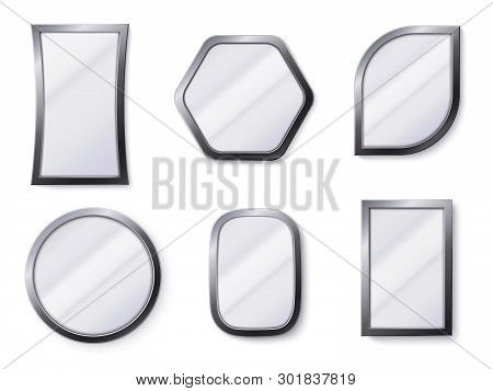 Realistic Mirrors. Reflective Mirror Surface In Frame, Mirroring Glass And Round Mirror 3d Isolated