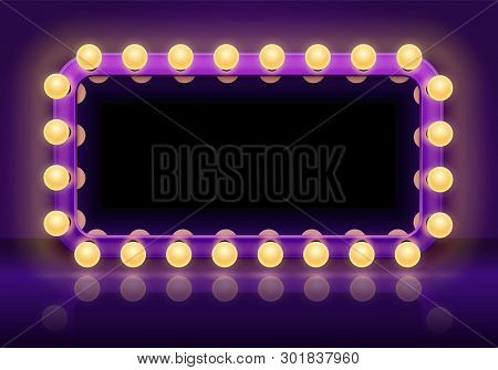 Makeup Mirror Table. Backstage Mirrors Lights Frame, Dressing Room Mirror With Lighting Bulbs Vector