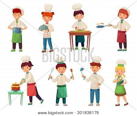 Cartoon Children Cooks. Little Chief Cook, Child Cooking Food And Young Kitchen Chiefs Vector Illust