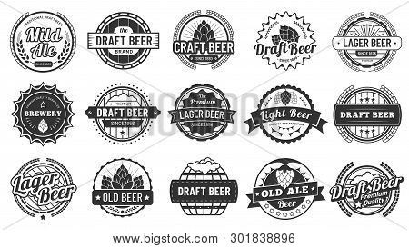 Brewery Beer Badges. Craft Beers Emblems, Hop Lager And Pub Hops Badge Isolated Vector Illustration