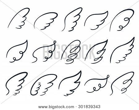 Sketch Wings. Hand Drawn Wing, Winged Angel Feather And Wings Spread Cartoon Doodle Vector Illustrat