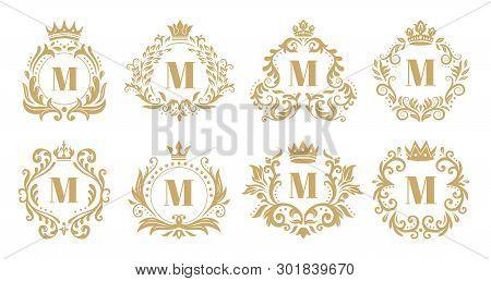 Luxury Monogram. Vintage Crown Logo, Golden Ornamental Monograms And Heraldic Wreath Ornament Vector