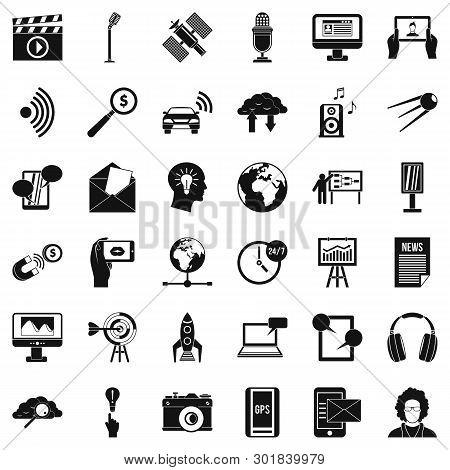 Bearer Media Icons Set. Simple Set Of 36 Bearer Media Icons For Web Isolated On White Background