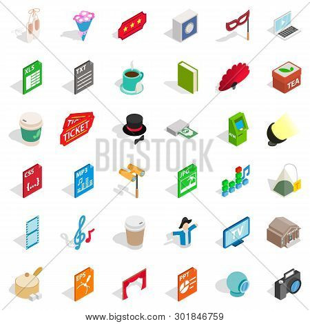 Sound Accompaniment Icons Set. Isometric Set Of 36 Sound Accompaniment Icons For Web Isolated On Whi