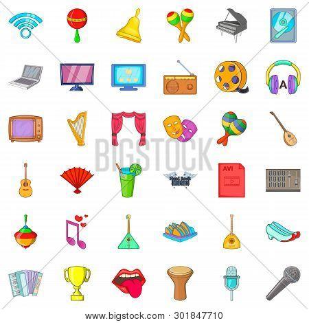 Philharmonic Society Icons Set. Cartoon Set Of 36 Philharmonic Society Icons For Web Isolated On Whi