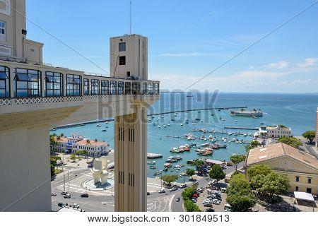 Salvador, Brazil - 3 February 2019: View Of Lacerda Elevator And All Saints Bay (baia De Todos Os Sa