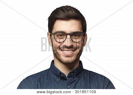 Headshot Of Smiling European Caucasian Business Man With Haircut And Glasses, Isolated On White Back