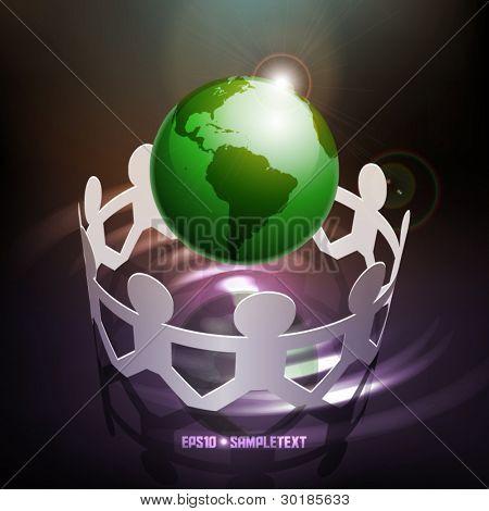 Vector Paper Men Saving Earth