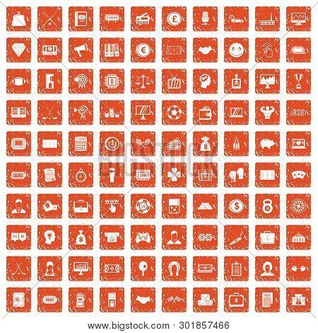 100 Sweepstakes Icons Set In Grunge Style Orange Color Isolated On White Background Illustration