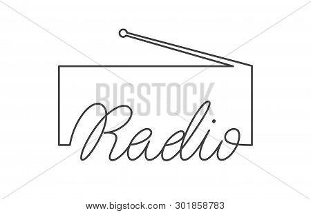 Radio Logo Emblem Design. Vector Sign With Lettering And Tuner Symbol