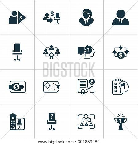 Job Icons Set With Problem Solving, Office Chair, Vacancy And Other Capitalist Elements. Isolated Ve