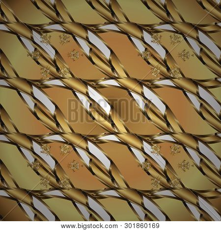 Yellow And Brown Colors With Golden Elements. Seamless Golden Pattern. Vector Golden Floral Ornament