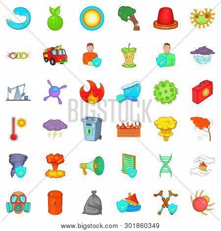 Backwater Icons Set. Cartoon Set Of 36 Backwater Icons For Web Isolated On White Background