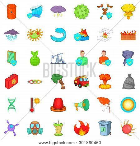 Quiet Backwater Icons Set. Cartoon Set Of 36 Quiet Backwater Icons For Web Isolated On White Backgro