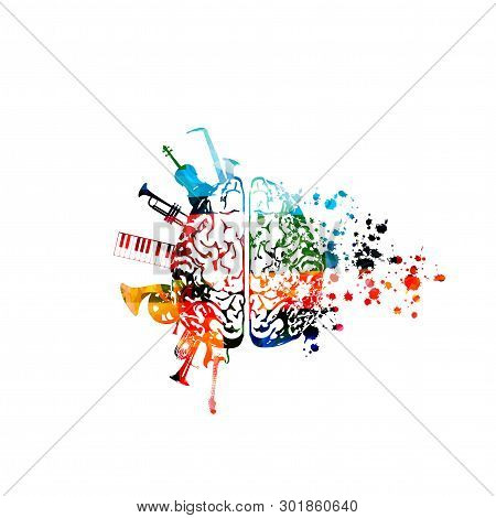 Music Background With Colorful Brain And Music Instruments Vector Illustration Design. Music Festiva