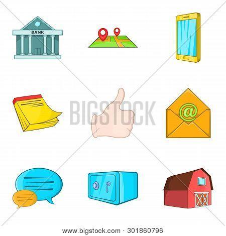Realestate Icons Set. Cartoon Set Of 9 Realestate Icons For Web Isolated On White Background
