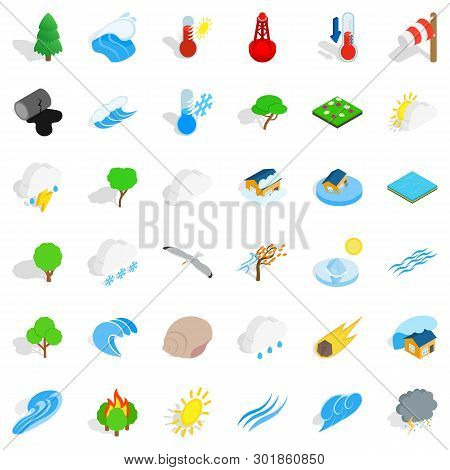 Peaceful Place Icons Set. Isometric Set Of 36 Peaceful Place Icons For Web Isolated On White Backgro