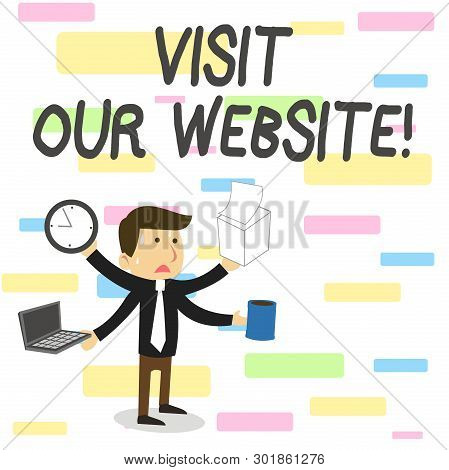 Conceptual Hand Writing Showing Visit Our Website. Business Photo Showcasing Visitor Who Arrives At