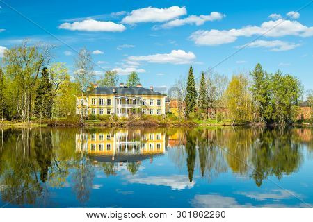 Kouvola, Finland - May 16, 2019: Beautiful Wooden Rabbelugn Manor - Takamaan Kartano. Wrede Family H