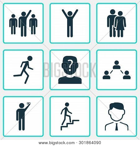Person Icons Set With Anonymous, Social Relations, Jogging And Other Unknown Elements. Isolated Vect