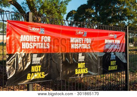 Melbourne, Australia - May 18, 2019: Australian Labor Party Posters Outside Mallauna College In The