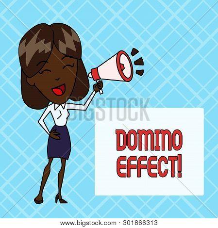 Conceptual Hand Writing Showing Domino Effect. Business Photo Showcasing Chain Reaction That Causing