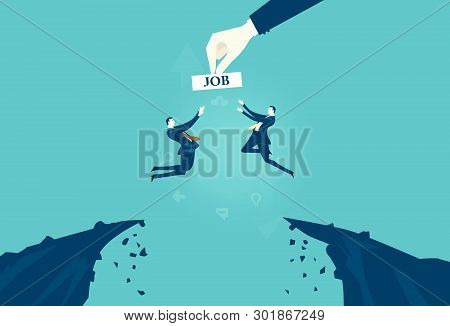 Business People Jumping From The Cliff In Hope To Get The Better Job Opportunity. Fight For The Job.