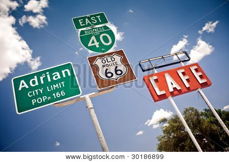 Route 66 intersection signs in Adrian, Texas poster