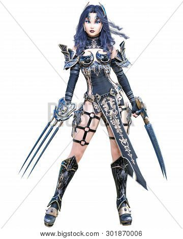 Warrior amazon woman sword and metal blade.Long dark hair.Elven warrior.Comic hero.Muscular athletic body.Girl standing aggressive pose.Conceptual fashion art.3D rendering isolate illustration poster
