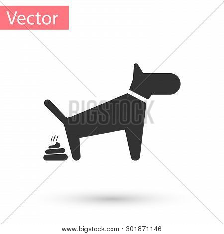 Grey Dog Pooping Icon Isolated On White Background. Dog Goes To The Toilet. Dog Defecates. The Conce