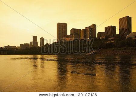 Edmonton Alberta Canada skyline silhoutte at dusk poster
