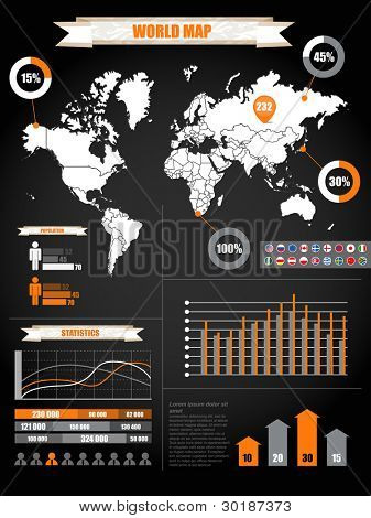 Infographics. Earth map and different charts on black