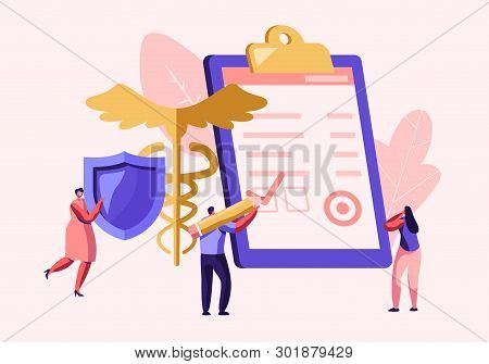 People Fill Health Form Insurance Policy Document. Woman Holding Protective Shield. Caduceus Symbol.