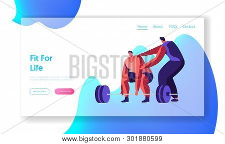 Sportsman Powerlifter Training In Gym With Coach. Male Character In Sportswear Workout With Weight.