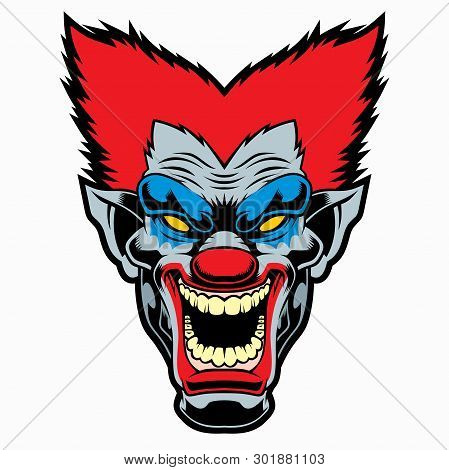 Evil Cartoon Clown. Vector Illustration For Use As Print, Poster, Sticker, Logo, Tattoo, Emblem And