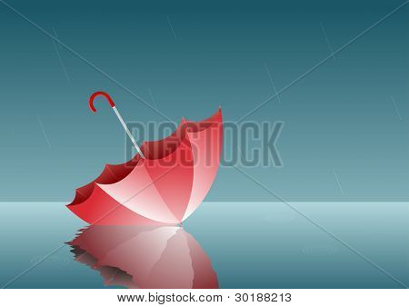 lonely umbrella. All elements are layered separately in vector file. poster