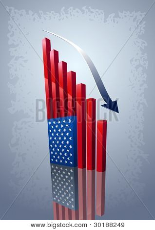 Moving down chart American flag. All elements are layered separately in vector file.