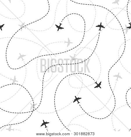 Airline Routes Seamless. Flight Planes Texture Pattern Travel Airplane Traffic Line Path Planning Av