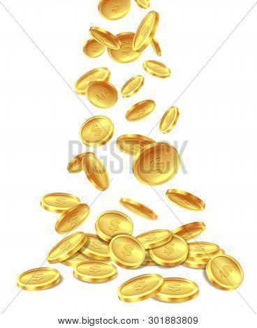 Gold Coins Pile. Golden Coin Money Heap Cash Wealth, Flying Metal Dollars Treasure Piles. Casino Jac